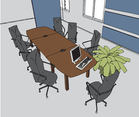 the modern office interior (cartoon style )