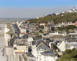The seaside holiday resort town of ault somme picardy france.