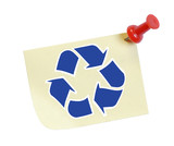 thumb tack note with recycle symbol on it poster