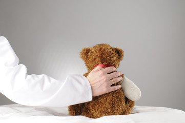an injured teddy getting comfort by a doctor
