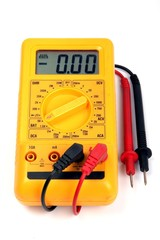 Yellow multimeter on white