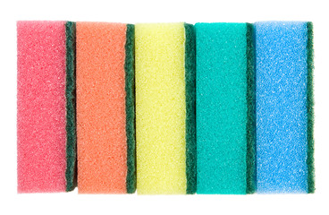 Kitchen sponges side view. Isolated on white.
