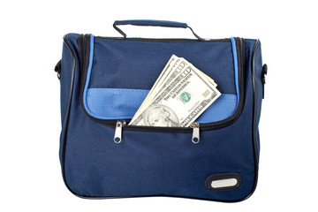 A blue handbag with money, isolated on white background