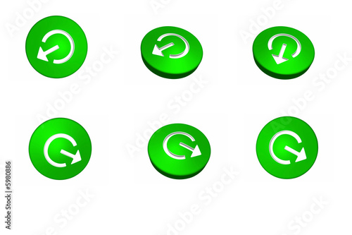 3d green buttons with arrows