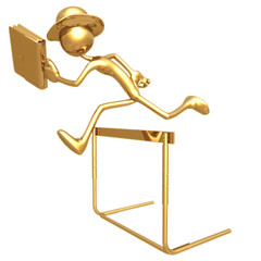 Businessman Jumping A Hurdle