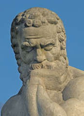 Stone sculpture of Socrates.