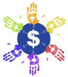 colorful hand prints dividing up the money  poster