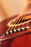 Musical instrument acoustic guitar close up in perspective poster