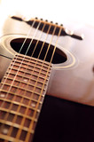Musical instrument acoustic guitar body close up poster