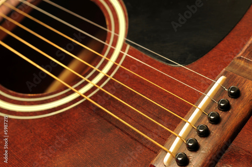Acoustic guitar bridge and strings close up