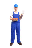 Female builder holding stainless steel trowel and brick poster