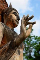 signe de main, statue de bouddha, sukothai