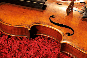 Violin on red carpet