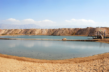 A lake in dry desert