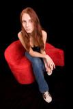 beautiful redhead, overhead wide angle shot poster
