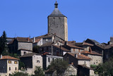 Medieval hilltop village in the mid-pyrenees. poster
