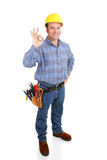 Authentic construction worker giving the a-okay sign  poster