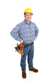 Authentic construction worker dressed for the job.  Full body poster