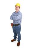 Authentic construction worker smiling with arms crossed.   poster