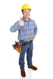 Authentic construction worker giving a thumbs-up sign.  poster