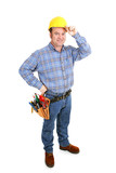 Authentic construction worker tipping his hardhat.  Full Body  poster