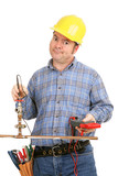 Construction worker trying to do plumbing with electrical tool poster