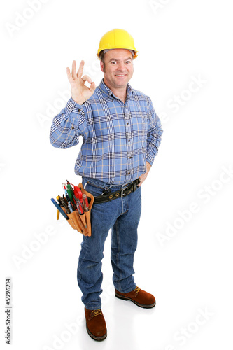 Authentic construction worker giving the a-okay sign