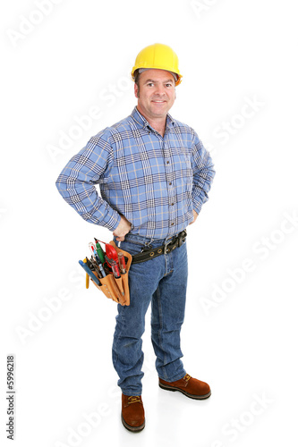 Authentic construction worker dressed for the job.  Full body