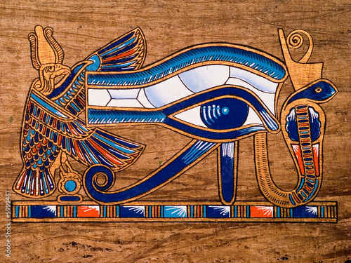 Deurstickers Egypte Egyptian papyrus, Horus Eye