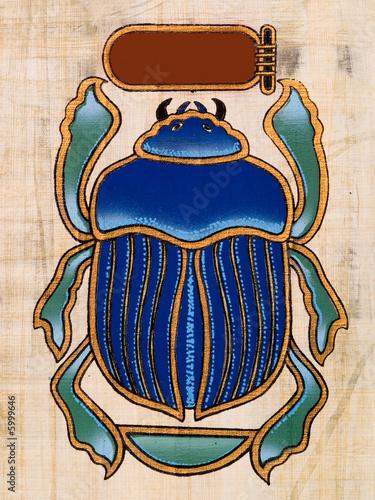 Leinwanddruck Bild Egyptian papyrus, Beetle