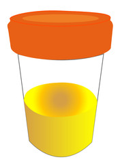 specimen cup with urine sample - vector
