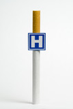 Imitation hospital signboard, on smoking concept poster