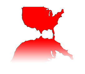 A simple illustration of the USA reflected in red.