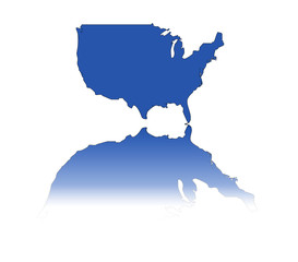 A simple illustration of the USA reflected in blue.