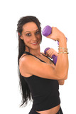 Middle aged lady in her late thirties exercising with weights poster