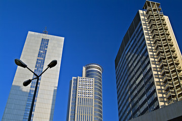 three office buildings and street lighting at Downtown District