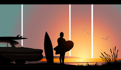 A surfer taking one last look before returning home.