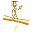 Golden Grad Waving Graduation Concept On Diploma
