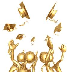 Golden Grads Throwing Caps In The Air Graduation Concept
