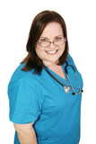 Beautiful plus sized woman in nursing scrubs.  Isolated  poster
