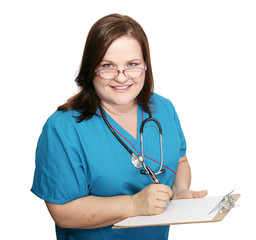 Pretty nurse with clipboard taking down medical history.