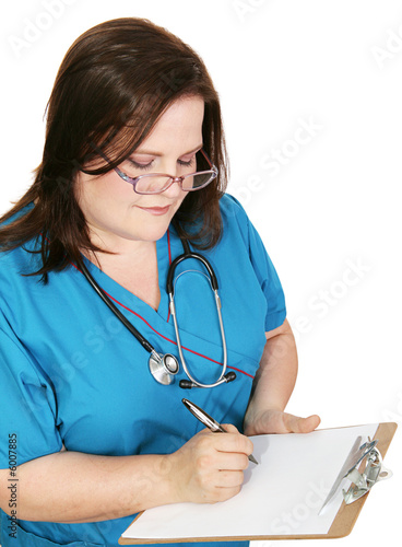 Nurse in scrubs taking notes.  Page left blank for your text.