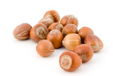 several hazelnuts isolated on white poster