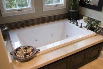 Modern bathroom with a spacious tub.