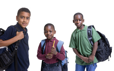 A group of african american students ready for school.