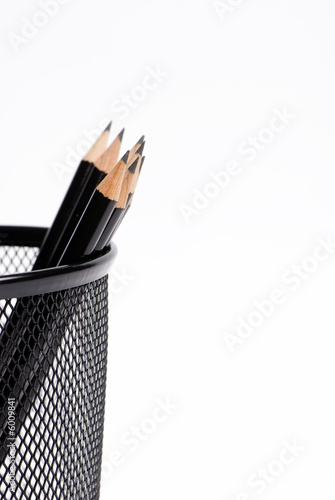 A basket of sharpened pencils