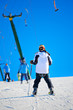 Skier in a winter resort