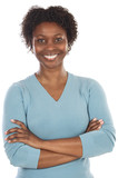 Attractive African woman a over white background poster