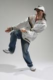 hip-hop dancer posing on a white background poster