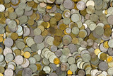 Heap of coins, abstract money background poster